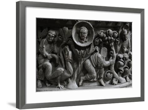 Moses and the Burning Bush. Baptismal Font. 12th Century. Basilica of San Frediano. Lucca--Framed Art Print