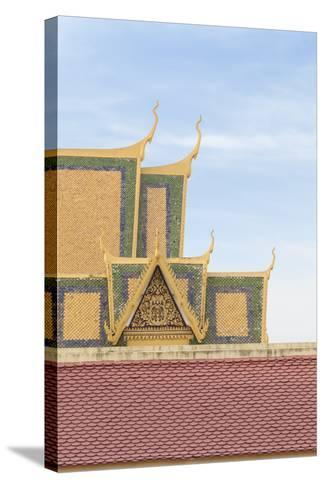 Roofs at the Royal Palace Complex, with the Silver Pagoda One at the Top, Phnom Penh, Cambodia--Stretched Canvas Print
