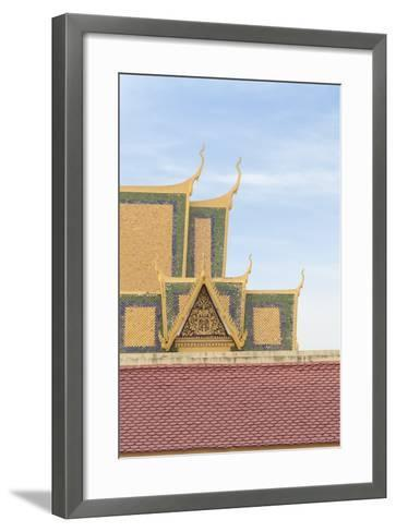 Roofs at the Royal Palace Complex, with the Silver Pagoda One at the Top, Phnom Penh, Cambodia--Framed Art Print