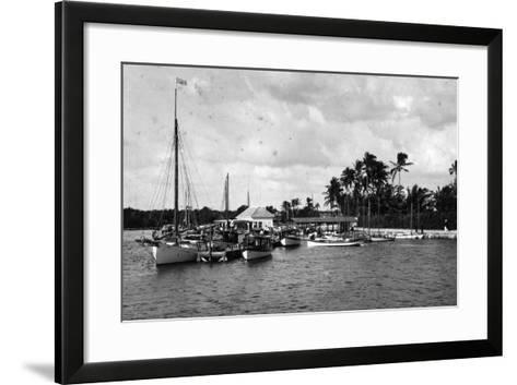 Sailboats Docked at the Royal Palm Hotel Boathouse at the Entrance to the Miami River, C.1900--Framed Art Print