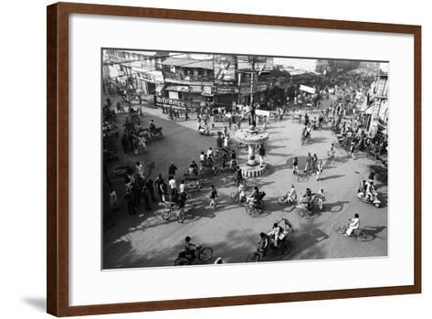 Chaos, Cycles and Rickshaws at City Road Intersection, Varanasi, Uttar Pradesh, India, 1982--Framed Art Print
