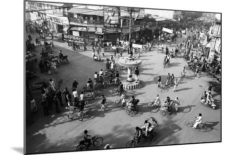 Chaos, Cycles and Rickshaws at City Road Intersection, Varanasi, Uttar Pradesh, India, 1982--Mounted Photographic Print
