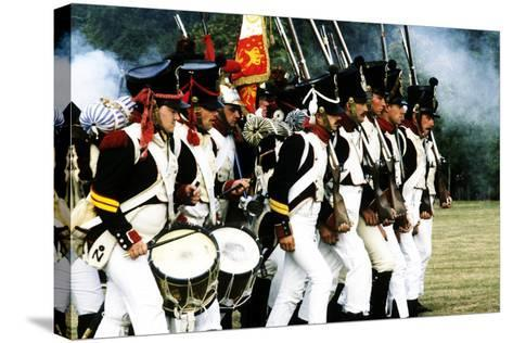 Historical Re-Enactment of French Napoleonic Troops in Battle 1815, as Deployed at Waterloo--Stretched Canvas Print