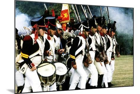Historical Re-Enactment of French Napoleonic Troops in Battle 1815, as Deployed at Waterloo--Mounted Photographic Print