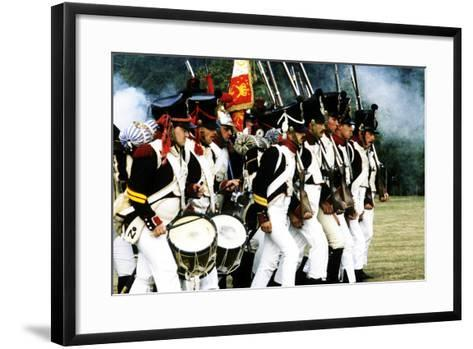 Historical Re-Enactment of French Napoleonic Troops in Battle 1815, as Deployed at Waterloo--Framed Art Print