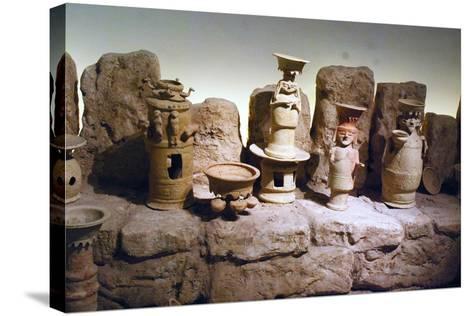 Reconstruction of an Edomite Shrine with Original Ceramic Ritual Vessels, Hatzeva, Israel--Stretched Canvas Print