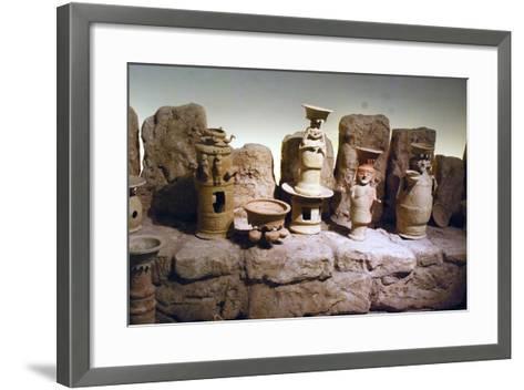 Reconstruction of an Edomite Shrine with Original Ceramic Ritual Vessels, Hatzeva, Israel--Framed Art Print