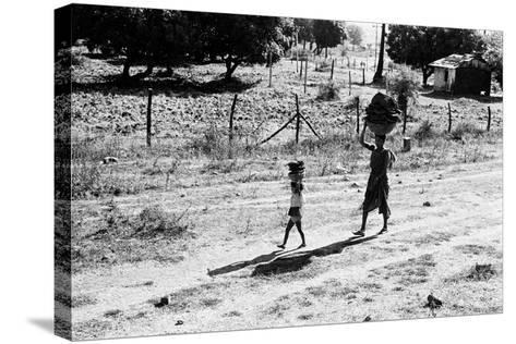 Mother and Child Carrying Cow Dung Cake, Borivali National Park, Mumbai, India, 1973--Stretched Canvas Print