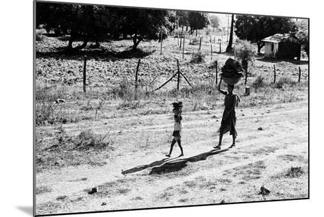 Mother and Child Carrying Cow Dung Cake, Borivali National Park, Mumbai, India, 1973--Mounted Photographic Print