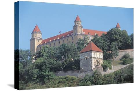 Low Angle View of a Castle on a Hill, Bratislava Castle, Bratislava, Slovakia--Stretched Canvas Print