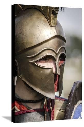 Historical Reenactment: Ancient Greek Warrior Wearing Corinthian Helmet--Stretched Canvas Print