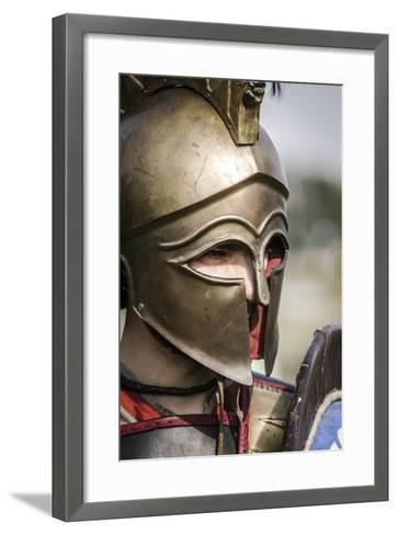 Historical Reenactment: Ancient Greek Warrior Wearing Corinthian Helmet--Framed Art Print