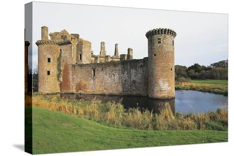 View of Caerlaverock Castle, 13th Century, Dumfries, Scotland, United Kingdom--Stretched Canvas Print