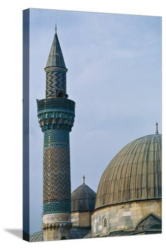 Detail of Dome and Minaret of Green Mosque (Yesil Cami), 1378-1387, Iznik, Turkey--Stretched Canvas Print