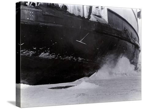 Detail of the Hull of the Ice-Breaking Train Ferry Steamer 'Ss Baikal', Lake Baikal--Stretched Canvas Print