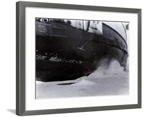 Detail of the Hull of the Ice-Breaking Train Ferry Steamer 'Ss Baikal', Lake Baikal--Framed Art Print