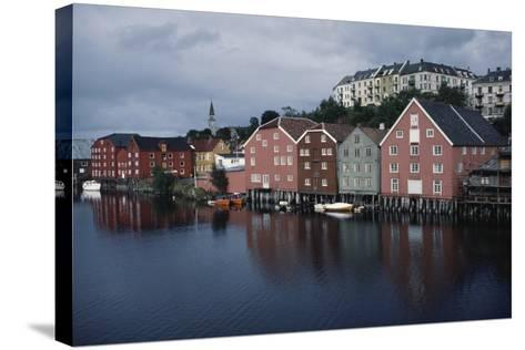 Wooden Buildings Along Nidelva River, Trondheim, Sor-Trondelag County, Norway--Stretched Canvas Print