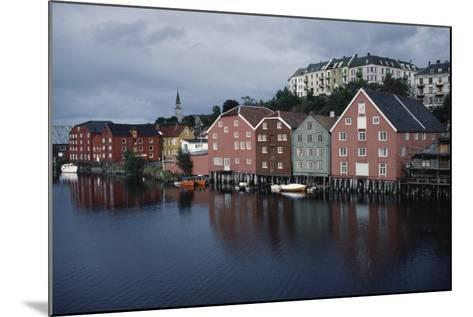 Wooden Buildings Along Nidelva River, Trondheim, Sor-Trondelag County, Norway--Mounted Photographic Print