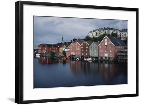Wooden Buildings Along Nidelva River, Trondheim, Sor-Trondelag County, Norway--Framed Art Print