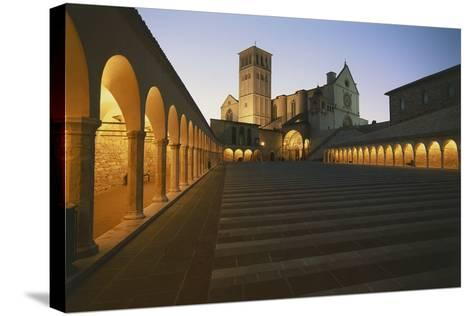 Steps Leading to a Church, Basilica of San Francisco, Assisi, Umbria, Italy--Stretched Canvas Print