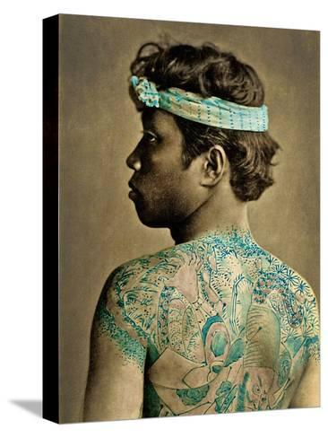 Portrait of a Man with Traditional Japanese Irezumi Tattoos, C.1880 (Hand Coloured Albumen Photo)--Stretched Canvas Print