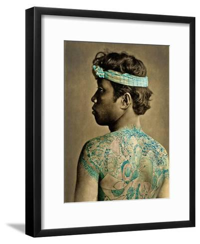 Portrait of a Man with Traditional Japanese Irezumi Tattoos, C.1880 (Hand Coloured Albumen Photo)--Framed Art Print