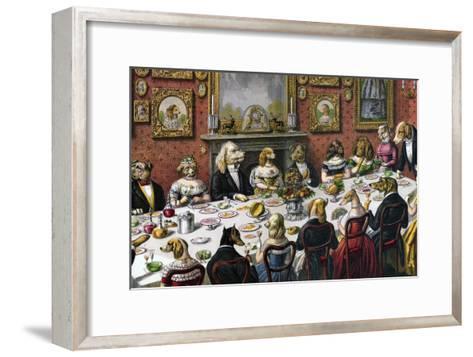 Formal Dinner Party for Dogs, 1893--Framed Art Print