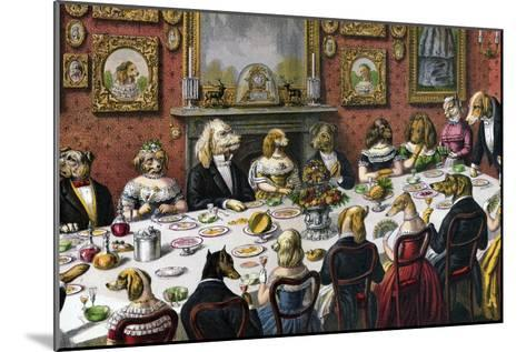 Formal Dinner Party for Dogs, 1893--Mounted Giclee Print
