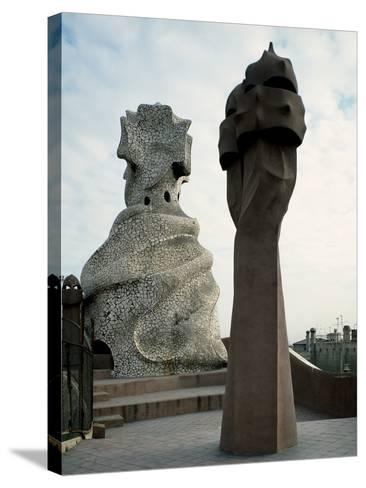 Chimneys at the Roof of La Pedrera or Casa Mila by (Antoni Gaudi (1852-1926)--Stretched Canvas Print