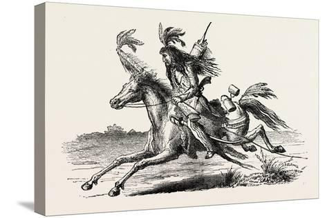 North American Indian on Horseback, USA, 1870s--Stretched Canvas Print