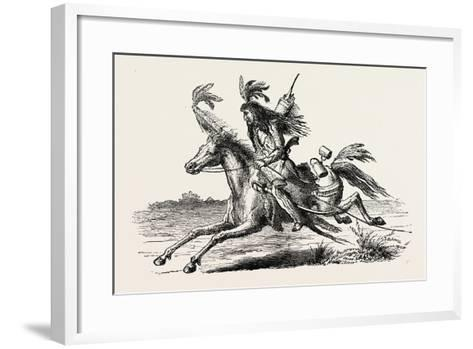 North American Indian on Horseback, USA, 1870s--Framed Art Print