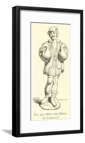 Man and Geese--Framed Art Print