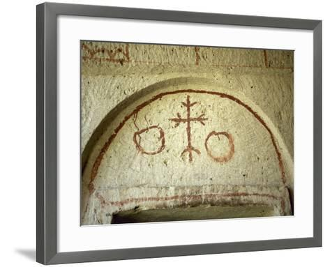 Turkey. Goreme National Park. Troglodyte Church. Painting at the Entrance of the Troglodyte Church.--Framed Art Print