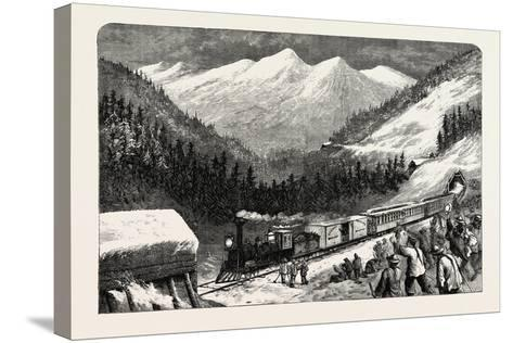 On the Central Pacific Railroad, USA, 1870s--Stretched Canvas Print