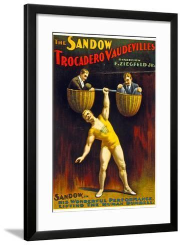 Poster Advertising The Sandow Trocadero Vaudevilles C.1894--Framed Art Print