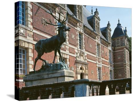 Low Angle View of a Statue in Front of a Castle, Haute-Normandy, France--Stretched Canvas Print