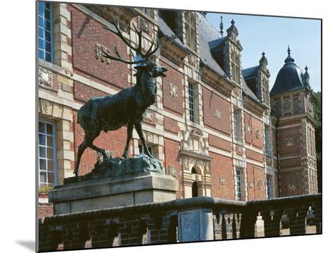 Low Angle View of a Statue in Front of a Castle, Haute-Normandy, France--Mounted Photographic Print
