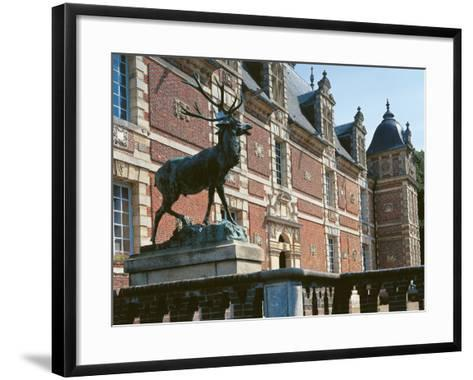 Low Angle View of a Statue in Front of a Castle, Haute-Normandy, France--Framed Art Print