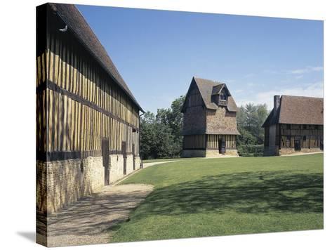Courtyard of a Castle, Crevecoeur-En-Auge Castle, Calvados, Basse-Normandy, France--Stretched Canvas Print