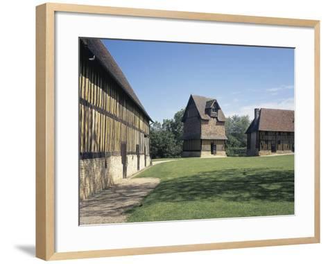 Courtyard of a Castle, Crevecoeur-En-Auge Castle, Calvados, Basse-Normandy, France--Framed Art Print
