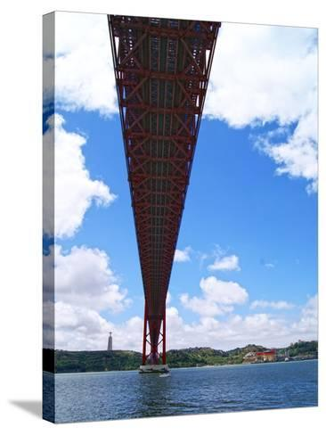 View of the 25 De Abril Bridge from the North Bank of Tejo River, Lisbon, Portugal--Stretched Canvas Print