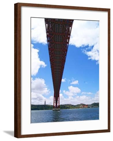 View of the 25 De Abril Bridge from the North Bank of Tejo River, Lisbon, Portugal--Framed Art Print