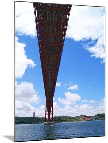 View of the 25 De Abril Bridge from the North Bank of Tejo River, Lisbon, Portugal--Mounted Photographic Print
