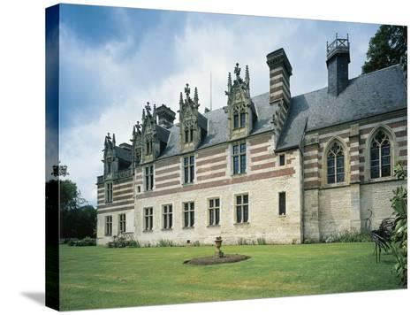 Fountain in Front of a Castle, Chateau D'Etelan, St-Maurice-D'Etelan, Haute-Normandy, France--Stretched Canvas Print