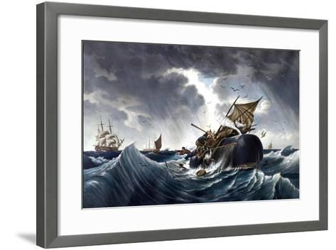 Whale Destroying Whaling Ship, C.1875--Framed Art Print