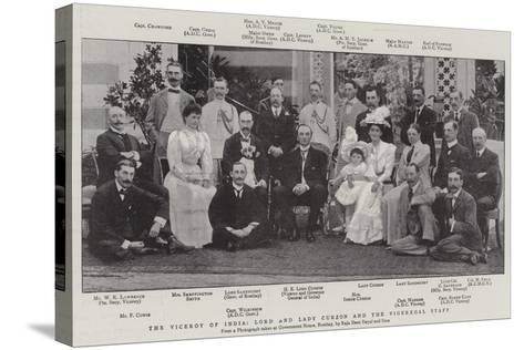 The Viceroy of India, Lord and Lady Curzon and the Vigeregal Staff--Stretched Canvas Print