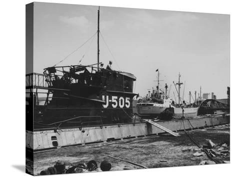 The Captured German Submarine U505 at the Docks of the Great Lakes Dredge and Dock Company--Stretched Canvas Print