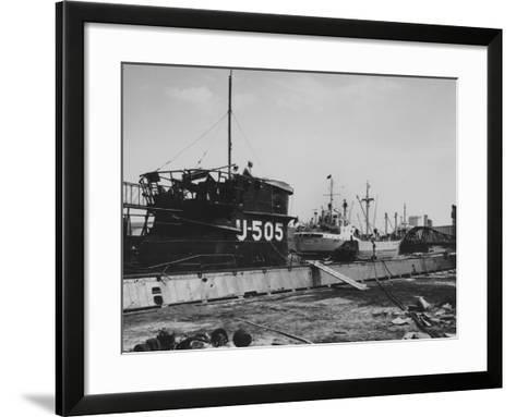 The Captured German Submarine U505 at the Docks of the Great Lakes Dredge and Dock Company--Framed Art Print