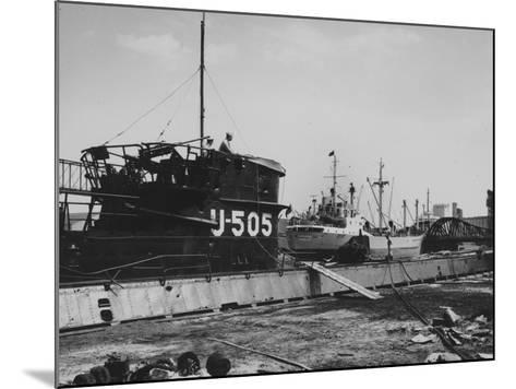The Captured German Submarine U505 at the Docks of the Great Lakes Dredge and Dock Company--Mounted Photographic Print