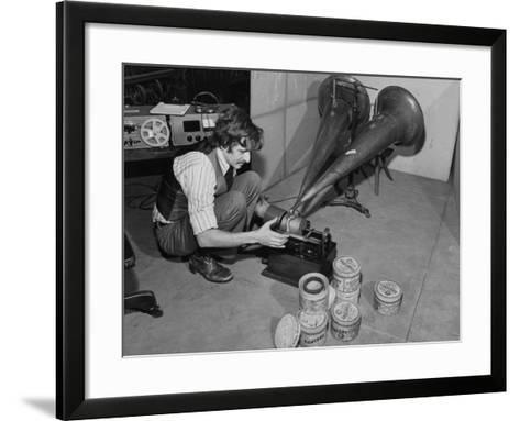 A Man Wax Concert Music Cylinders on an Edison Phonograph, Museum of Science and Industry--Framed Art Print